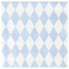 Serviettes en papier losanges bleu clair (20 pièces)