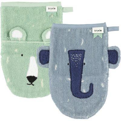 Lot de 2 gants de toilette Mr Polar Bear et Mrs Elephant  par Trixie