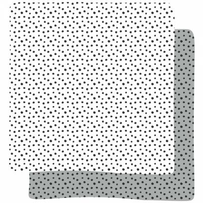Lot de 2 langes Happy Dots gris (70 x 70 cm)   par Done by Deer