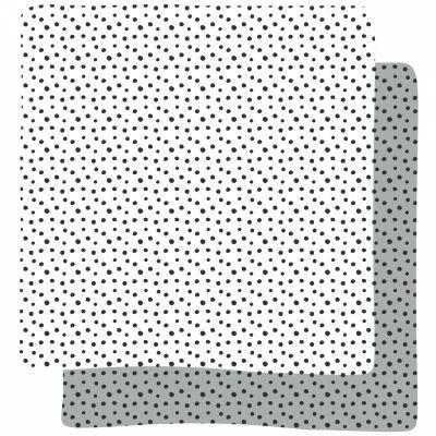 Lot de 2 langes Happy Dots gris (70 x 70 cm)   par Done by Deer