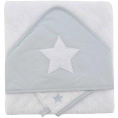 Cape de bain brodée et gant gris perle étoiles