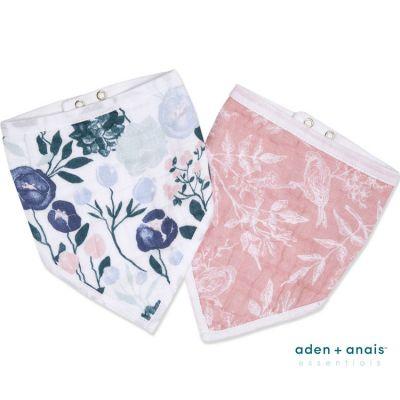 Lot de 2 bavoirs bandanas en coton Flowers Bloom  par aden + anais