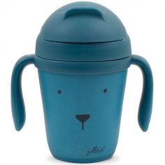 Tasse d'apprentissage en bambou Animal club bleu