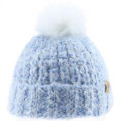 Bonnet en tricot pompon fourrure bleu (12-18 mois)