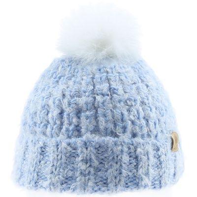 Bonnet en tricot pompon fourrure bleu (12-18 mois)  par Bedford Road