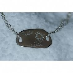 Bracelet empreinte galet carré 2 trous sur chaîne simple 14 cm (argent 925°)