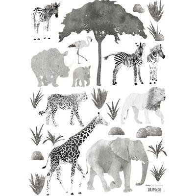 Planche de stickers A3 d'animaux sauvages  par Lilipinso