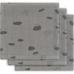 Lot de 3 mini langes hydrophiles Spot storm grey (31 x 31 cm)
