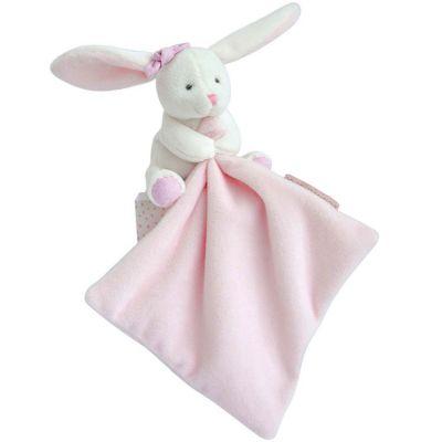 Doudou plat lapin rose J'aime mon doudou Doudou et Compagnie
