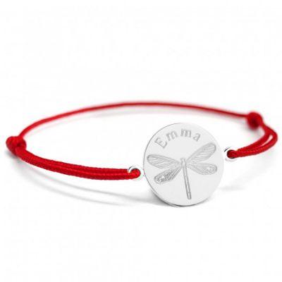 Bracelet cordon Libellule personnalisable (argent 925°)