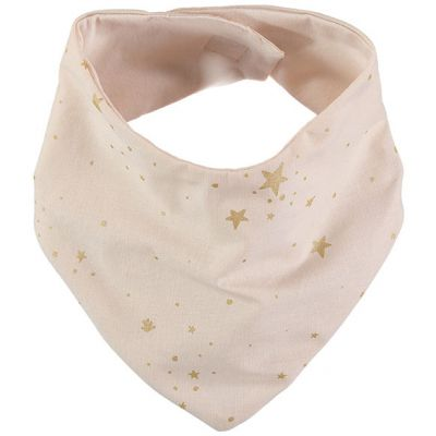 Bavoir bandana Lucky coton bio Gold stella Dream pink  par Nobodinoz
