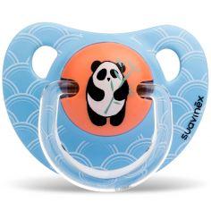 Sucette physiologique Panda bleu en silicone garçon (6-18 mois)