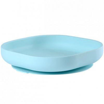 Assiette en silicone à rebords et ventouse bleue Béaba