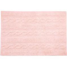 Tapis lavable unis à torsades rose (80 x 120 cm)