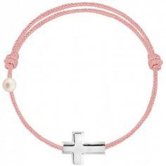 Bracelet cordon Croix et perle rose poudré (or blanc 750°)