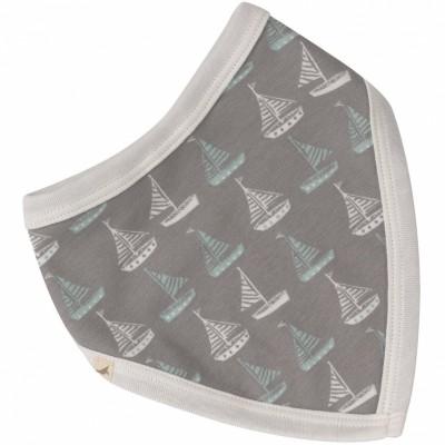 Bavoir bandana réversible Boat Grey   par Pigeon