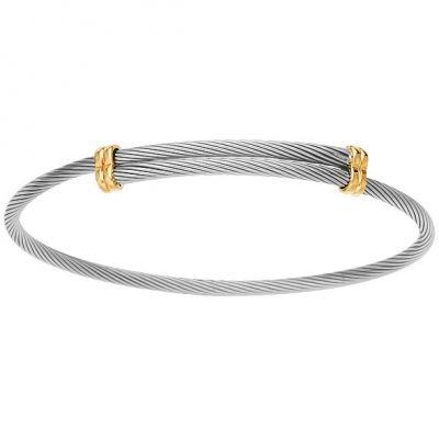 Jonc bébé lien (acier et or jaune 950°)  par Berceau magique bijoux