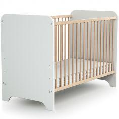 Lit à barreaux en bois de hêtre verni Carrousel blanc (60 x 120 cm)