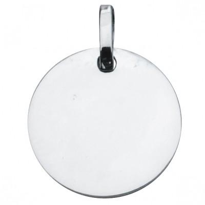 Médaille ronde unie à graver 14 mm (argent 925°)  par Premiers Bijoux