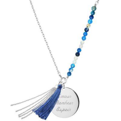 Sautoir Bahia bleu (argent 925° et agates)  par Petits trésors