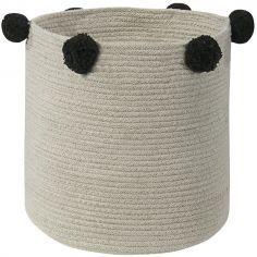 Panier de rangement Bubbly en coton naturel et noir (30 x 30 cm)