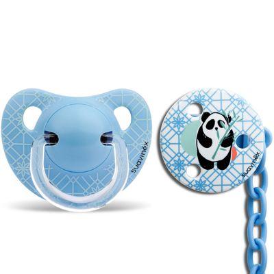 Lot Panda sucette physiologique (6-18 mois) et attache-sucette bleues  par Suavinex