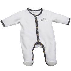 Pyjama chaud Babyfan blanc et gris (1 mois)