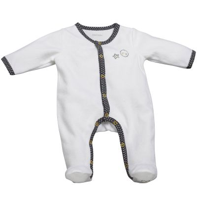 Pyjama chaud Babyfan blanc et gris (1 mois)  par Sauthon