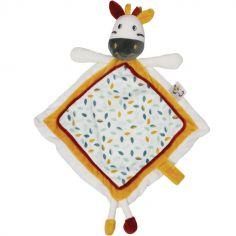 Doudou plat carré attache sucette zèbre Kolala et sa tribu