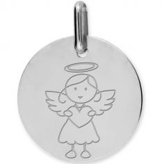 Médaille Ange fille personnalisable (or blanc 750°)
