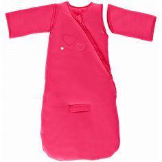 Gigoteuse naissance chaude à manches coton bio Jersey Coeurs 3 en 1 rose framboise TOG 3 (70 cm)