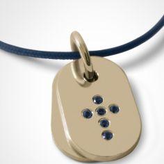 Collier cordon de baptême avec saphirs bleus personnalisable (or jaune 750°)