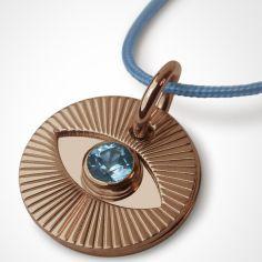 Collier cordon Cyclope avec topaze bleue (or rose 750°)