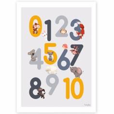 Affiche A4 123 grise et jaune
