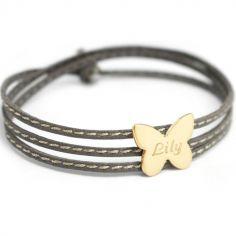 Bracelet enfant cuir Amazone papillon (plaqué or)
