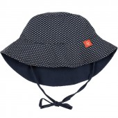 Chapeau anti-UV réversible Splash & Fun navy et polka (0-6 mois) - Lässig