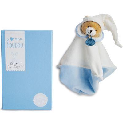 Doudou plat L'Original ours bleu (25 cm) Doudou et Compagnie