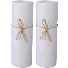 Lot de 2 draps housses en coton bio blanc (60 x 120 cm)