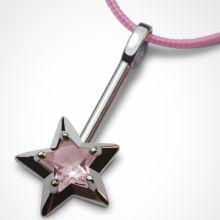 Collier cordon Abracadabra Quartz rose (argent 925°)  par Mikado