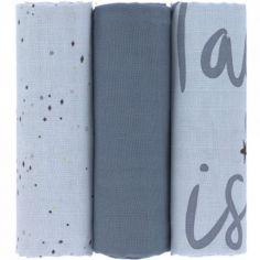 Lot de 3 langes en mousseline More Magic bleu (85 x 85 cm)
