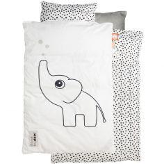 Drap de berceau (70 x 100 cm) et taie (40 x 45 cm) Elphee l'éléphant gris