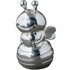 Tirelire Abeille personnalisable (métal argenté)