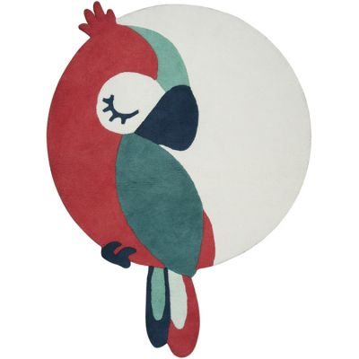 Tapis coton Tropica perroquet rouge (120 x 160 cm) Lilipinso