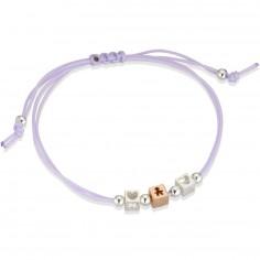 Bracelet cordon lila 1 cube garçon 2 cubes coeur (or rose 375° et argent 925°)