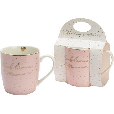 Mug rose poudré Sublime maman  par Amadeus Les Petits