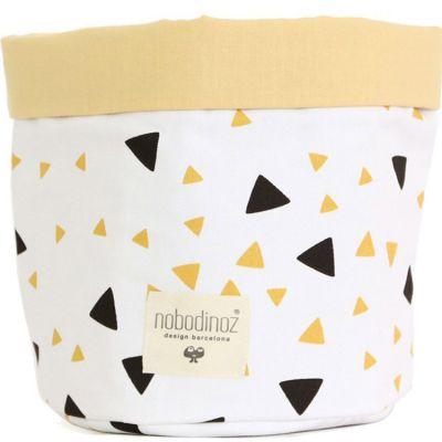 Corbeille en tissu Mambo Confettis noir et jaune miel (25 x 26 cm)