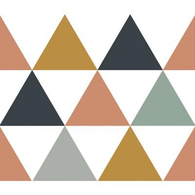 frise papier peint triangles bleus gris beige 4 1 m. Black Bedroom Furniture Sets. Home Design Ideas