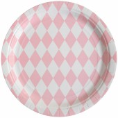 Assiettes en carton losanges rose clair (8 pièces) - My Little Day