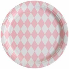 Assiettes en carton losanges rose clair (8 pièces)