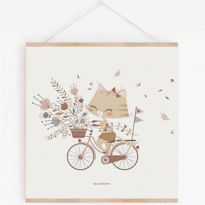 Affiche carrée chat Célestine avec support (29,7 x 29,7 cm)  par Lutin Petit Pois